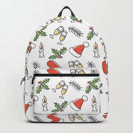 White Christmas Santa and Champagne Pattern Backpack
