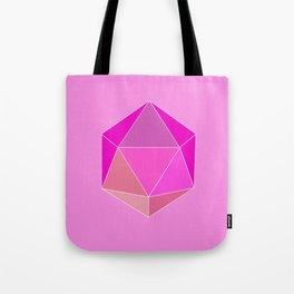 Geometric art, pink icosahedron. Tote Bag