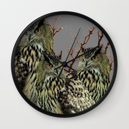 FOREST  WOODS OWL FAMILY GREY ART DESIGN  ART Wall Clock