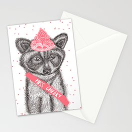 Funny girly raccoon illustration pink tiara Stationery Cards