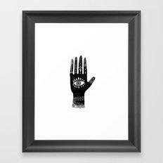 Hand with eye linocut black and white minimal boho third eye hamsa Framed Art Print