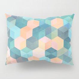 Child's Play 2 - hexagon pattern in soft blue, pink, peach & aqua Pillow Sham