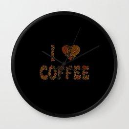 I heart coffee coffee bean fonts coffee lover gift Wall Clock
