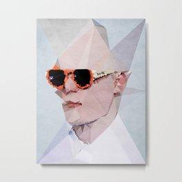Couple with Glasses (Him) - Kubistika by Boris Draschoff Metal Print