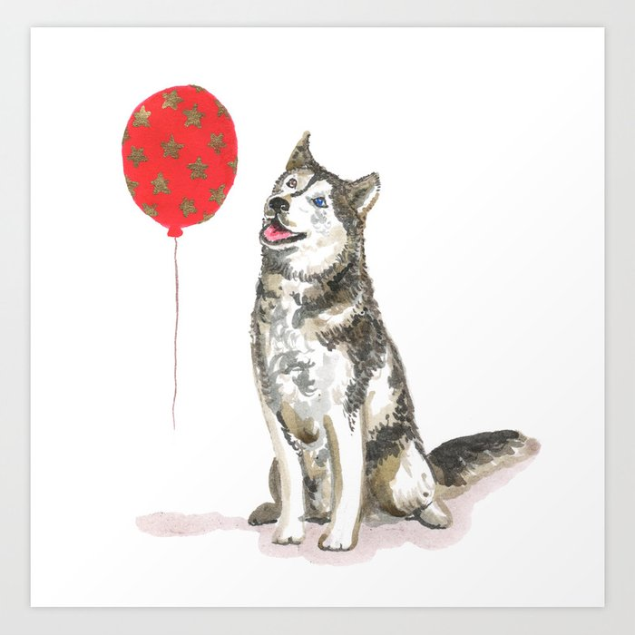 Husky With Balloon Art Print
