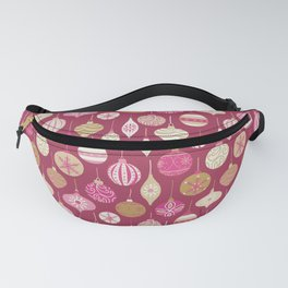 Christmas Vintage Ornaments Pink Fanny Pack
