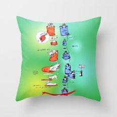 Pillow Sack Race between French Bulldog and Penguin Throw Pillow