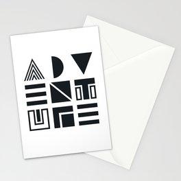 Geometric Adventure B&W Stationery Cards