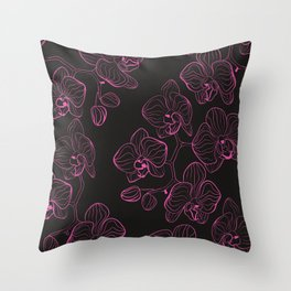 Seamless flower pattern with orchids phalaenopsis background Throw Pillow
