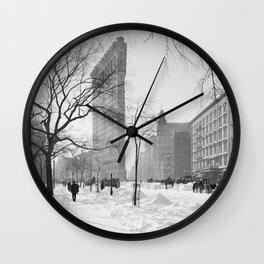 Vintage Flatiron Building Photo, 1905, New York City Wall Clock