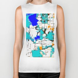 blue green and orange drawing abstract background Biker Tank