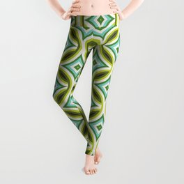 Green, Turquoise & Brown Circular Geometric Retro Pattern Leggings