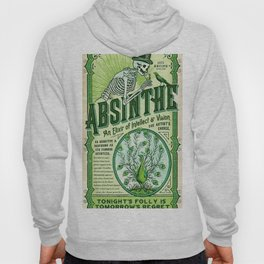 Vintage 1871 Absinthe Liquor Skeleton Elixir Aperitif Cocktail Alcohol Advertisement Poster Hoody