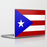 puerto rico Laptop & iPad Skins featuring puerto rico country flag star by tony tudor