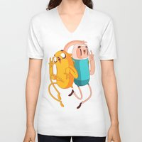 finn and jake V-neck T-shirts featuring Finn & Jake by Daniel Mackey