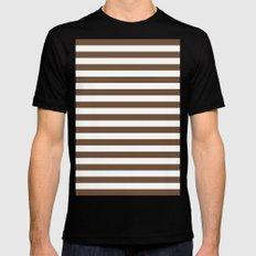 Horizontal Stripes (Coffee/White) Mens Fitted Tee MEDIUM Black