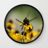 hats Wall Clocks featuring Yellow hats by Julia Goss Photography