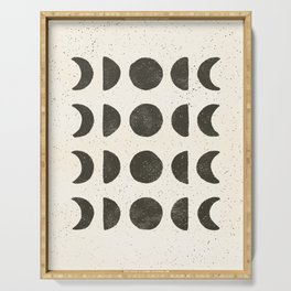 Moon Phases - Black on Cream Serving Tray