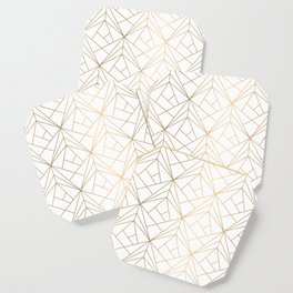 Geometric Gold Pattern With White Shimmer Coaster