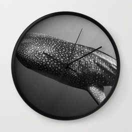 Whale shark black white Wall Clock