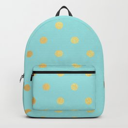 Gold polka dots on aqua background - Luxury turquoise pattern Backpack