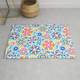 Watercolor Kaleidoscope Floral - brights Rug