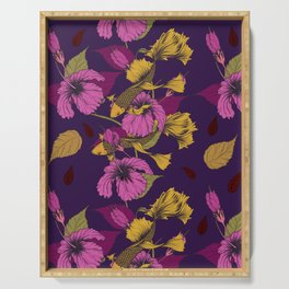 Vibrant Goldfish And Hibiscus Flower Pattern Serving Tray