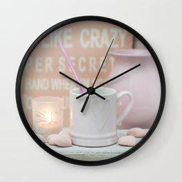 Pastel Pink Scandi-chic Still Life Wall Clock