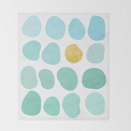 Aqua Pebbles & gold Throw Blanket