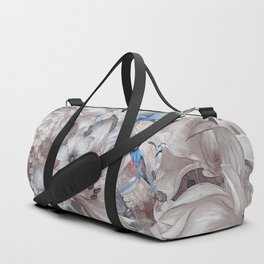 flowers and birds blue grey #flowers #flora #pattern Duffle Bag
