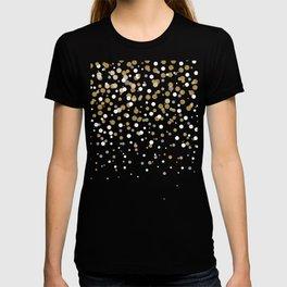 Pretty modern girly faux gold glitter confetti ombre illustration T-shirt