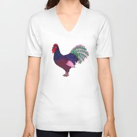 rooster V-neck T-shirts featuring Rooster by Michalacaney
