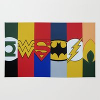 justice league Area & Throw Rugs featuring Justice Logo's by iankingart