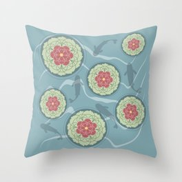 Koi Lotus Pond Throw Pillow