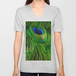 Peacock Glitter Unisex V-Neck