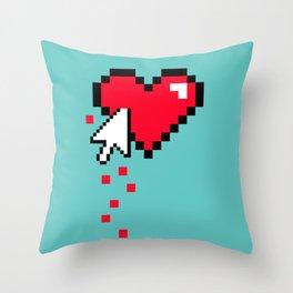 Broken 8 bits Heart Throw Pillow