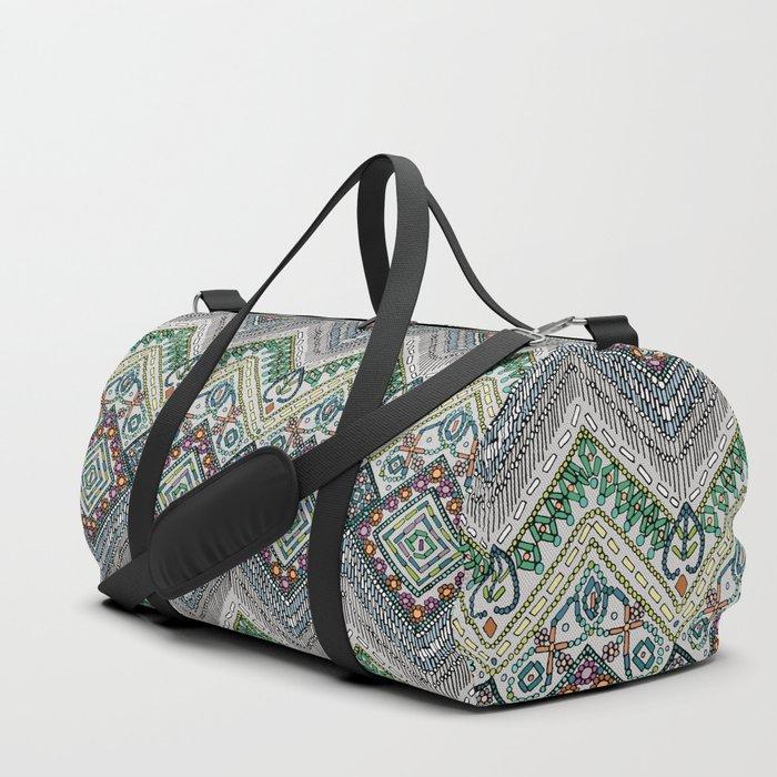 beaded chevron platinum Duffle Bag
