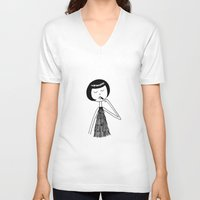 lipstick V-neck T-shirts featuring Lipstick by flapper doodle