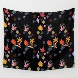 Dark Floral Garden Wall Tapestry