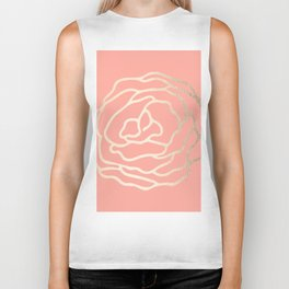 Flower in White Gold Sands on Salmon Pink Biker Tank