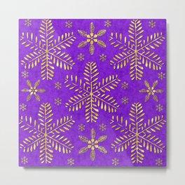 DP044-3 Gold snowflakes on purple Metal Print
