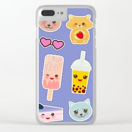 Hello Summer. Pineapple, cherry smoothie cup, ice cream, sun, cat, cake, hamster. Kawaii cute face. Clear iPhone Case