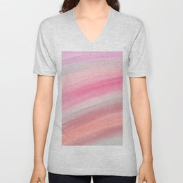 Girly aurora pink coral abstract brushstrokes Unisex V-Neck