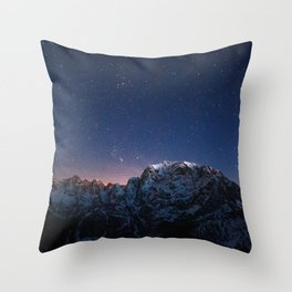 Starry sky above mountains Throw Pillow