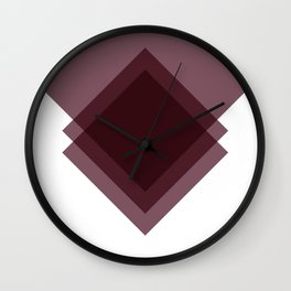 Modern Geometric Art Deco Burgundy Wall Clock