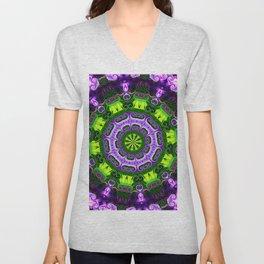 Mandala purple and green Unisex V-Neck