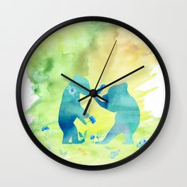 Playing bear kids - Animal Watercolor illustration Wall Clock