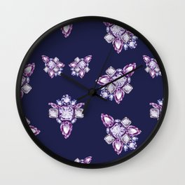 Jewelbox: Amethyst Brooch on Indigo Ink Wall Clock