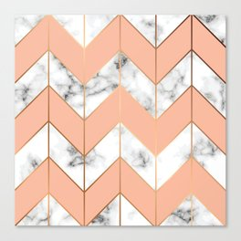 WHITE MARBLE WITH GOLD AND ROSE CHEVRON Canvas Print