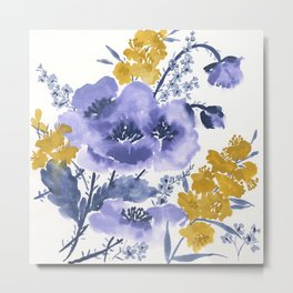 Blue and Yellow Floral #2 Metal Print